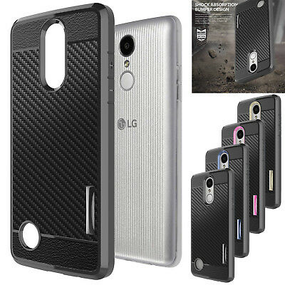 Hybrid Carbon Fiber Shockproof TPU Hard Case Cover For LG K20 Plus / K20 V/ LV5