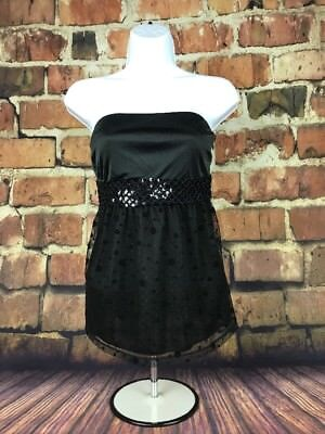 f4ff39ebf67 Express Womens Small Black Strapless Top With Sequin And Polka Dot Details