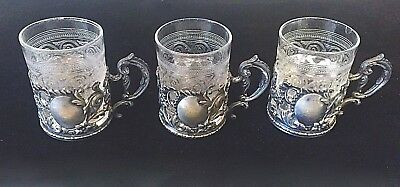 3 Antique Silverplate & Etched Glass Demi Tasse Cups Repousse Design