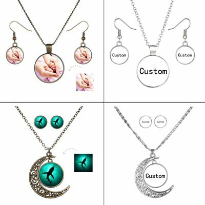 Personalized Custom Picture Photo Logo Moon Earrings Necklace Set Jewellery Gift