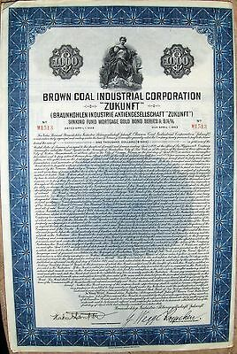 "Brown Coal Industrail Corp. ""Zukunft"" German $1000 Gold bond of 1928 cancelled"