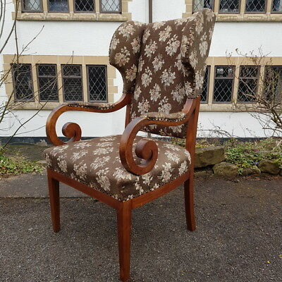 A Stunning Antique Scroll Arm Victorian Wingback Armchair with Upholsterery