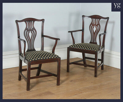 Antique English Pair Georgian Chippendale Mahogany Office Desk Carver Arm Chairs