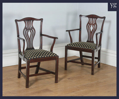 Antique Pair Two 2 Georgian Chippendale Mahogany Office Desk Carver Arm Chairs