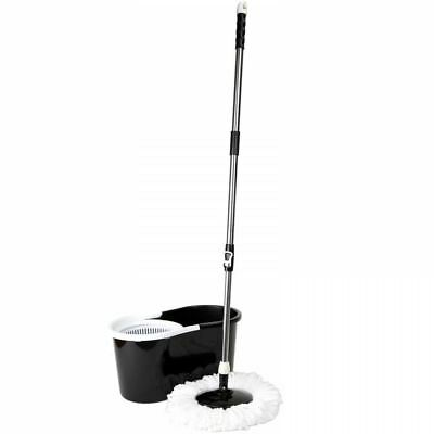 360° Floor Black Spin Mop Bucket Set Spinning Rotating With 3 Cleaning Dry Heads