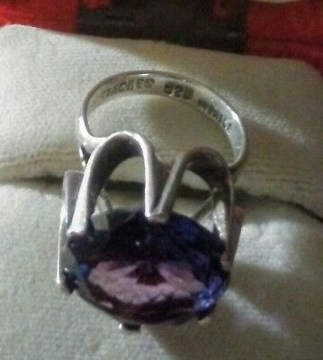 Sterling Silver Ring Engraved Sanches 925 Mexico Amethyst Purple Sz 7.5 12.9mm