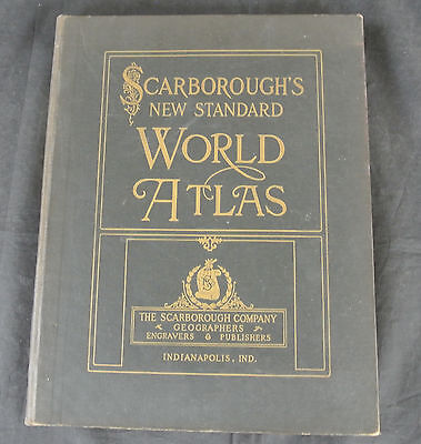 Great 1911 Scarborough's World Atlas ~ Postal Rate Map, Us Navy, Panama Canal