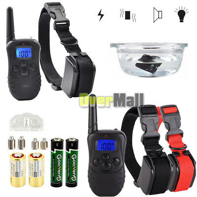 4 Modes Waterproof 1000 Yard 2 Dog Shock Training Collar Pet Trainer with Remote
