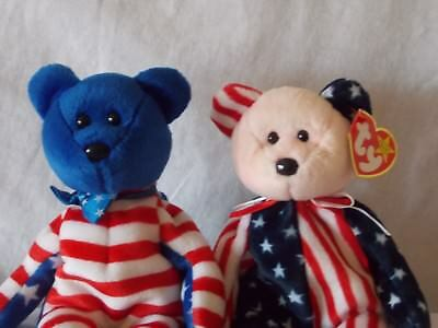 """Ty Beanie Babies """"SPANGLE"""" MWT and """"LIBERTY""""  MNT"""