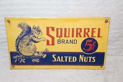 Vintage 1940's Squirrel Brand 5c Salted Nuts Candy Gas Oil Embossed Metal Sign