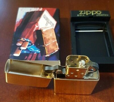 NEW Marlboro 2003 Collectible Brushed Brass Zippo Lighter with Unused Wick