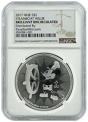 2017 Niue 1oz Silver Mickey Mouse Steamboat Willie NGC  - Brilliant Uncirculated