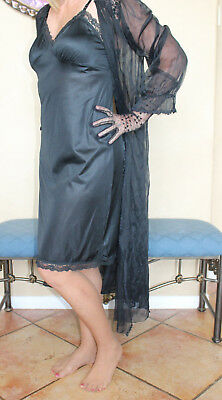 Vtg Black Silky Satiny  Nylon Full Slip Dress Petticoat Lingerie Bust 38""