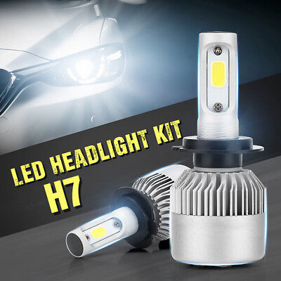H7 20000LM 200W Front COB LED Headlight Kit Bulbs High/Low Beam 6000K-6500K Lamp