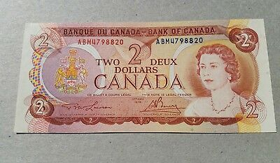 1974 Canada $2 Bill Two Dollar Currency Note - Crisp - Free Shipping
