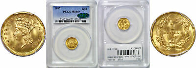1862 $1 Gold Coin PCGS MS-66+ CAC