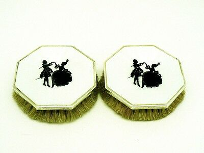 Pair Silver Guilloche Enamel Clothes Brushes, Octagonal, Hallmarked 1927