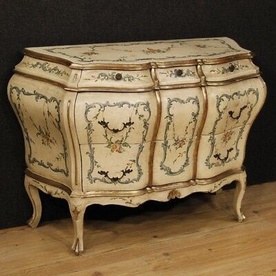 Dresser venetian lacquered furniture chest of drawers wood antique style 900