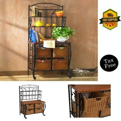 Incroyable Bakeru0027S Rack Black Iron Finish Sturdy For Kitchen With 4 Wicker Storage  Baskets