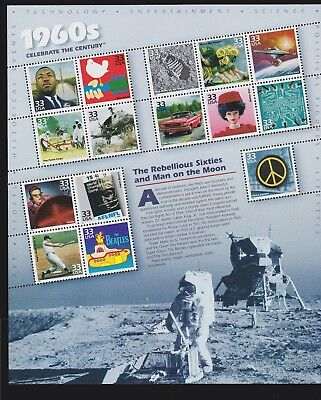 US 3188 33c Celebrate the Century: 1960s Mint Sheet OG NH