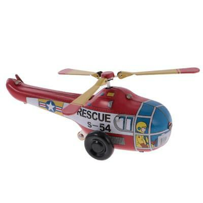Tinplate Clockwork Helicopter Tin Toy Wind Up Rotatable Wing Children Toys
