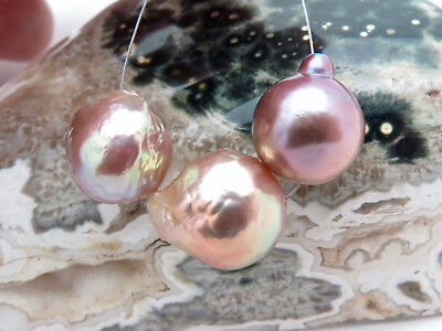 3PC AAA INTENSE RAINBOW FRESHWATER XL 11.3-12.9mm EDISON DRILLED CULTURED PEARLS