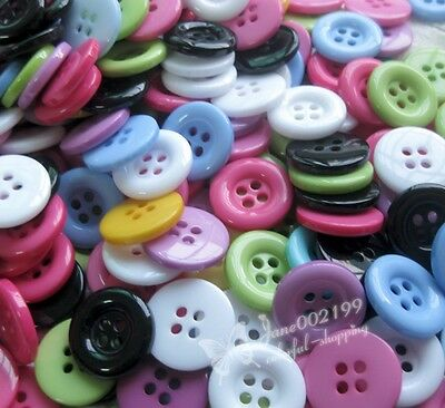 17mm Round Plastic Button Sewing Tools Crafts Appliques Mix 100pcs