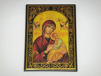 Rectangle Metal Sheet Magnet with Religious Holy Mother & Child Orthodox Picture