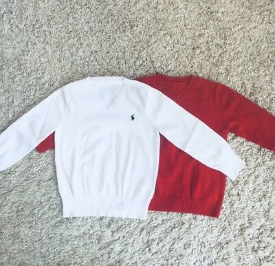 Lot Of 2 Polo Ralph Lauren Toddler Boys Sweater Red/White Size 4T Pre-Owned