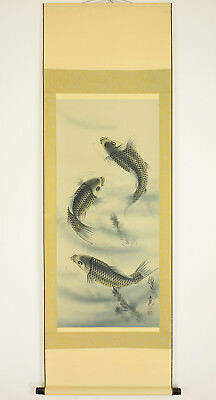 "Chinese Hanging Scroll ""Three Carp""  @g964"