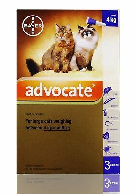 Advocate Spot-On Treatment For Large Cats Weighing 4-8 Kg 3 pipettes / box