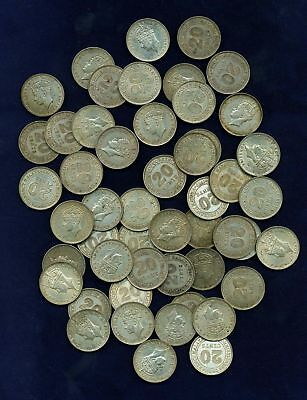 Malaya  George Vi   1939   20 Cents Silver Coins, Group Lot Of  (50)