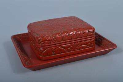 K4097: Japanese Wooden Lacquer ware CONTAINER for article Accessories Case Box