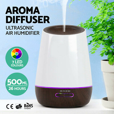 500ml Aromatherapy Essential Oil Ultrasonic Aroma Humidifier Diffuser Dark AU