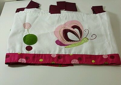 2 pair Lambs Ivy Pink Butterfly Polka Dot Valance Curtains Kids 60 L X 12 W Nice
