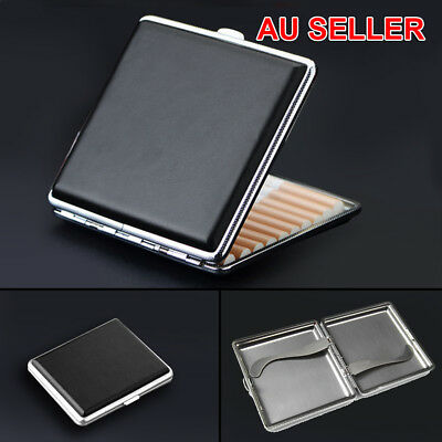 Stainless Steel+Pu Cigar Cigarette Tobacco Case Pocket Pouch Holder Box OZ