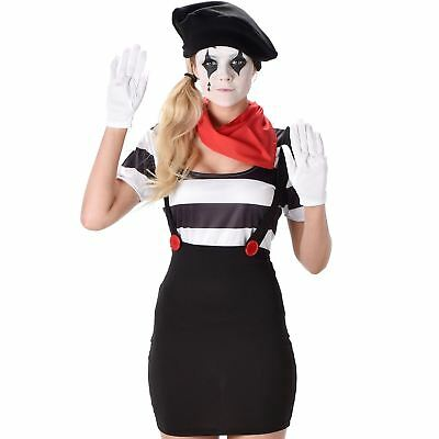 Womens Mime Costume Ladies French Street Artist Circus Clown Fancy Dress Outfit