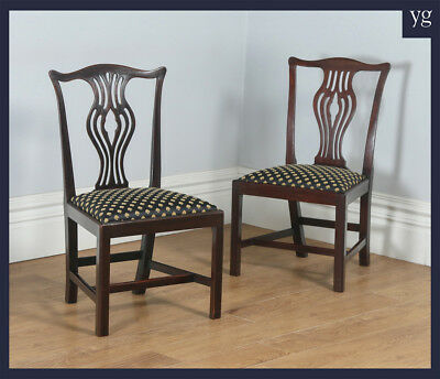 Antique Pair 2 Two Georgian Chippendale Mahogany Office Desk Dining Side Chairs