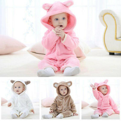Baby Boys Girls Flannel Bodysuit Hoodie Romper One-piece Jumpsuit Animal Costume