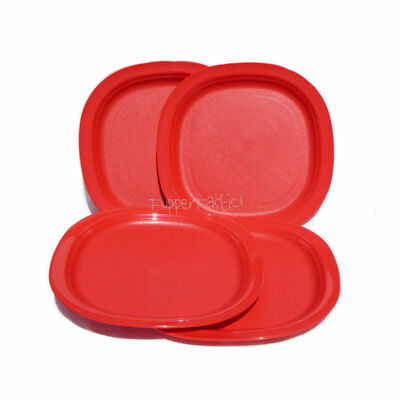 Tupperware Small Microwave safe DESSERT Lunch PLATES x 4 Red NEW Sandwich