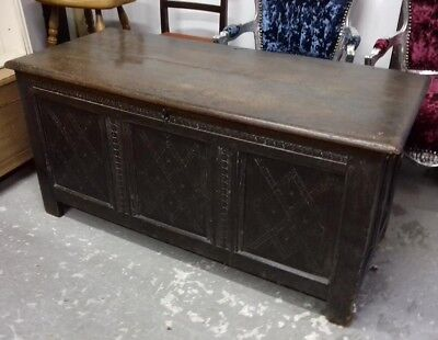 17th CENTURY OAK JOINTED COFFER CHEST carved with lozenge front panels
