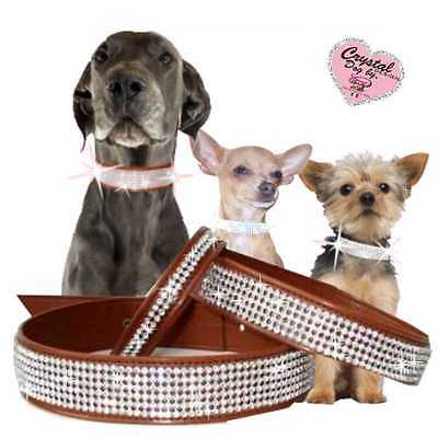Cani Strass Collare Tipo pelle Made in Germany 7 Fila 3 cm Braun M-XL X5