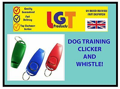 MULTI CLICKER WHISTLE EASY DOG PUPPY PET TRAINING Obedience Agility Keyring 7D