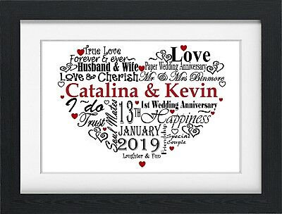 personalised 1st first one year paper anniversary gift present word typography