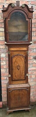 STUNNING Antique Inlaid Oak Grandfather Longcase Clock Case Shell Inlay