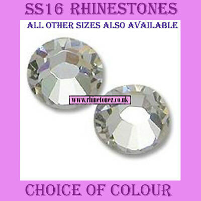 2000 x SS16 - 4mm Crystal Hotfix Rhinestones 30 Colours (or 1000) - FREE POSTAGE