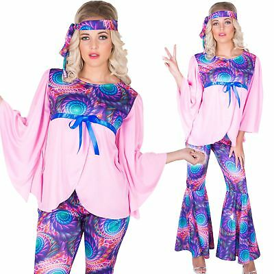 Ladies Boho Girl Costume 1970s Disco Flares Womens Fancy Dress Outfit