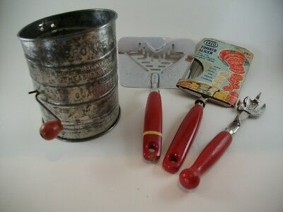 Vintage 1950's Kitchen Tools 3 Red Wood Handle Tools Bromwell Sifter