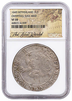 1643 Netherlands Silver New York Lion Dollar NGC VF30 Exl New World Lbl SKU52855
