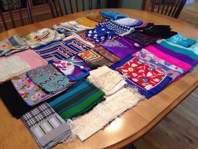 Lot of 40 VTG Scarves ~ Colorful Silk Polyester ITALY London